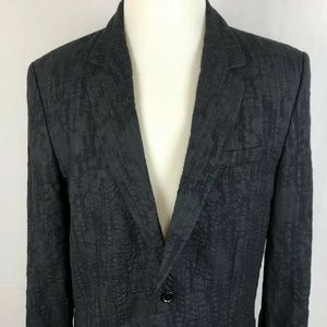 Juicy Couture Men 42 Black Textured Striped Blazer